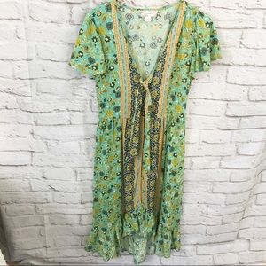 Band of Gypsies High low dress Floral green S